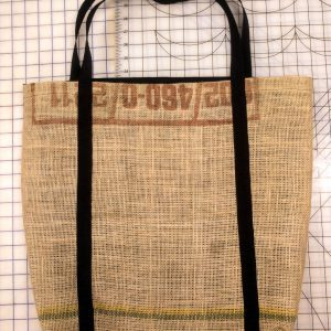Yellow Burlap Beach Bag